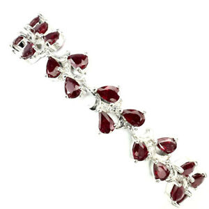 Pear-Blood-Red-Ruby-5x4mm-White-Cz-925-Sterling-Silver-Bracelet-7-5in