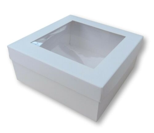 GIFTS 10 WHITE 5 x 5 INCH BOX WITH WINDOW LID GARMENTS CAKES ETC