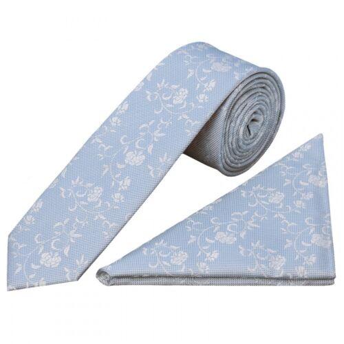 Handmade Sky Blue Floral Skinny Men/'s Tie and Handkerchief Set Slim Tie Thin Tie