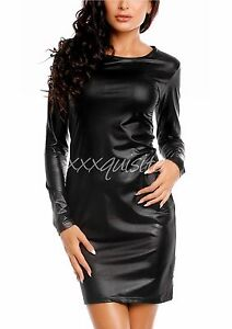 591d9417437 Sexy Black Faux Leather Long Sleeve Plus Size Party Evening Cocktail ...