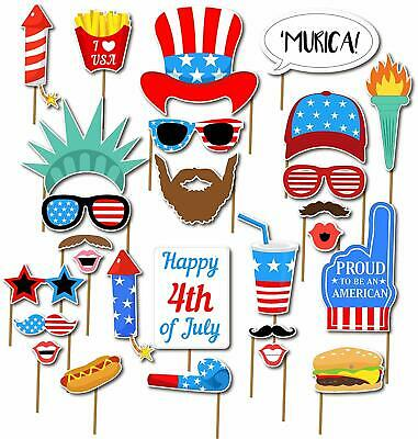 27PCS 4th of July American USA Independence Day Photo Booth Party Props Supplies