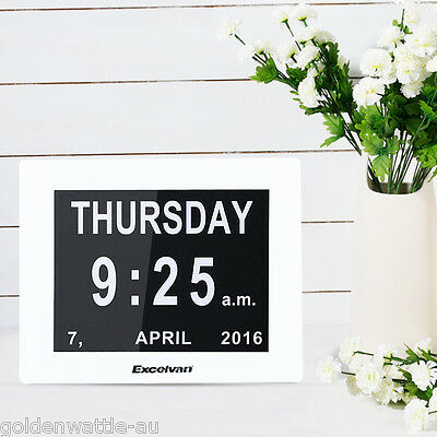 "8"" Digital LCD Calendar Desk Clock Time Day Week Month Date Electronic Auto Dim"