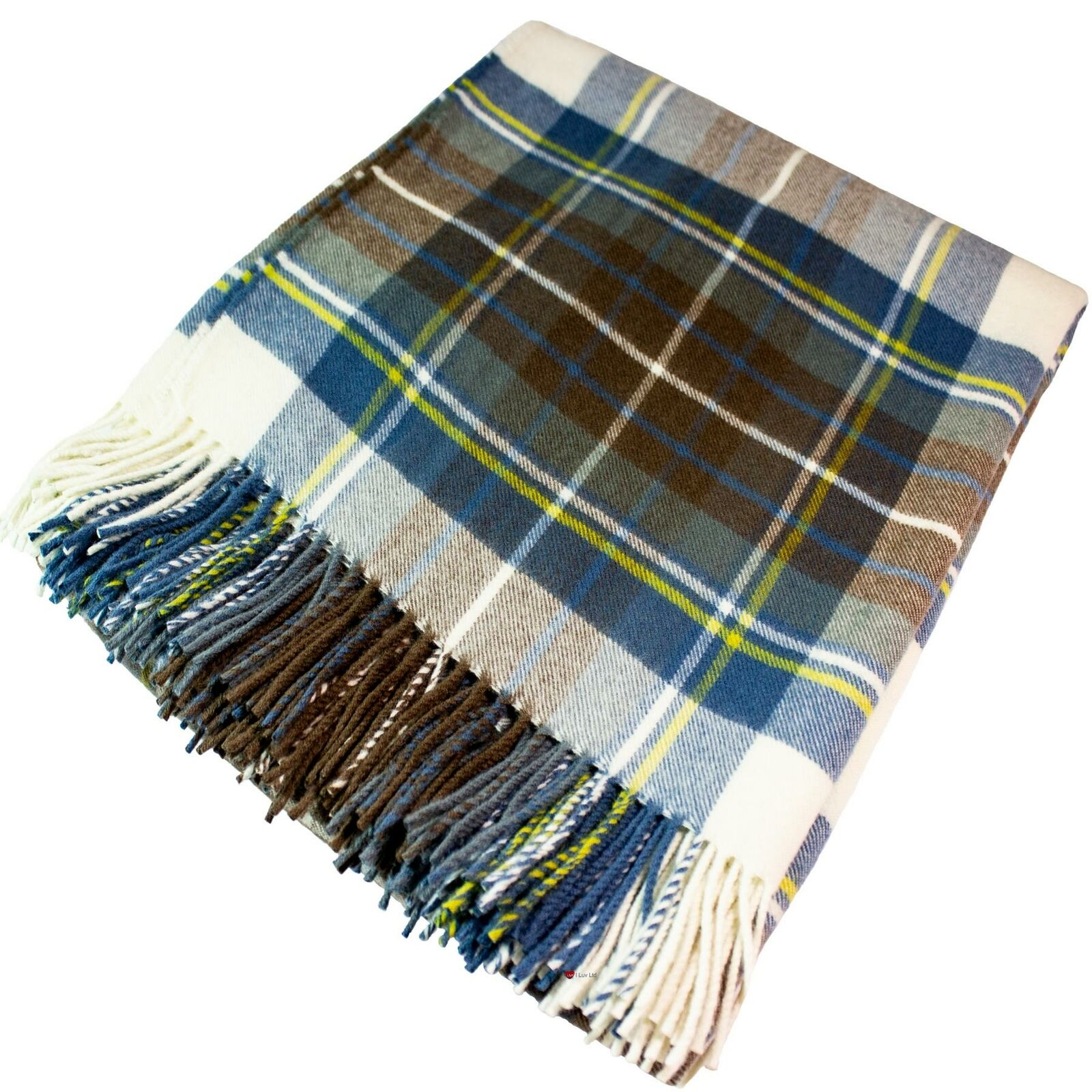 Lambswool Blanket Stewart Muted Blau Tartan Plaid 100% Soft Wool
