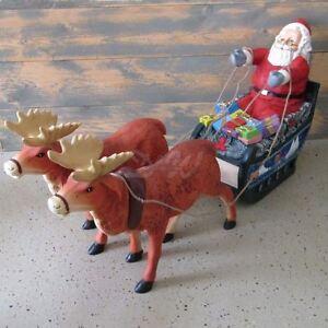 weihnachtsmann 2 rentiere im schlitten deko figur weihnachten nikolaus advent ebay. Black Bedroom Furniture Sets. Home Design Ideas