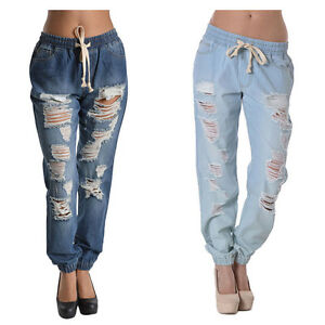acf5851aa6f35f Details about G-Style USA Women's Athletic Destructed Ripped Denim Jogger  Pants RJJ328 - D8B