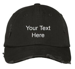 946aafd627c85 Image is loading Distressed-New-Personalized-Custom-Embroidered-Text-for-Cap -