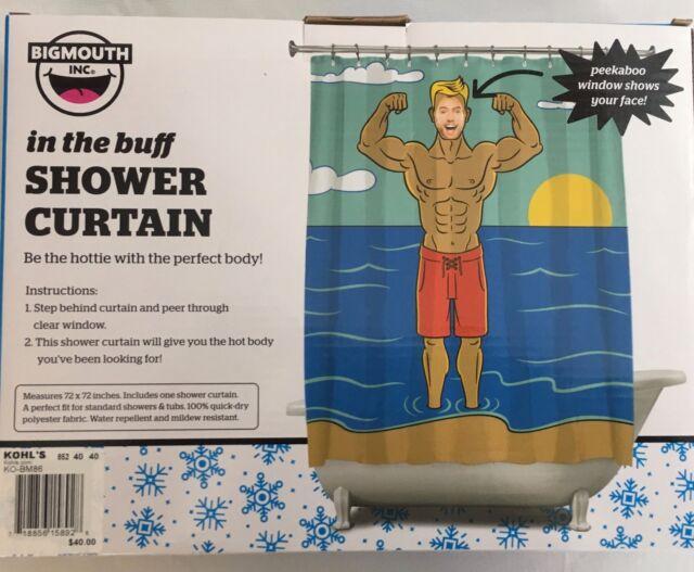In The Buff Shower Curtain Polyester Fabric Peekaboo Window 72X72 40 Big Mouth