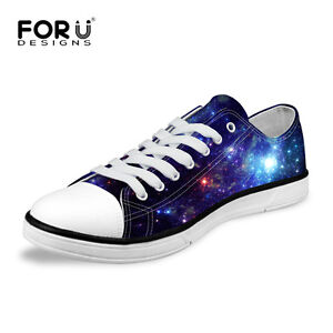 Galaxy-Starry-Men-039-s-Casual-Low-Top-Canvas-Shoes-Comfy-Trainers-Walking-Sneakers