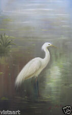 """24""""x36"""" Hand Painted Oil on Stretched Canvas ~White Crane~"""