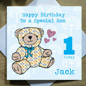 Personalised Handmade Teddy Bear Birthday Card For Him Her Any