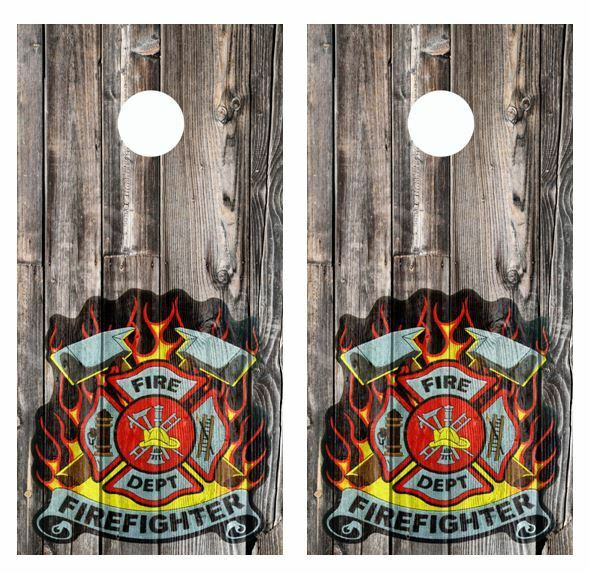 Firefighters  Patch Barnwood Cornhole Board Wraps  FREE LAMINATE  save up to 30-50% off