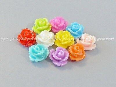 50 Rose Resin Flowers Flat Back Cabochon 10mm Multi-Color  F3-50