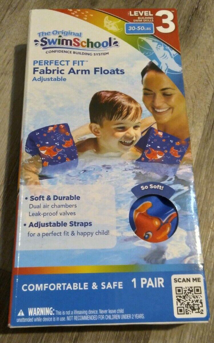 Pink Swim School Soft Fabric Arm Floats Adj Straps Level 3 30-50 or 40-80lbs.