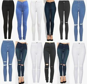 WOMENS HIGH WAISTED JEANS STRETCHY RIPPED KNEE JEGGINGS