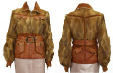 CAVALLI WEASEL LEATHER SUEDE BELTED JACKET size 40 - 4