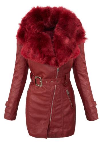 Damen Winter Mantel Kunstlederjacke Kunstfellkragen Jacke Damenjacke D-378 NEU