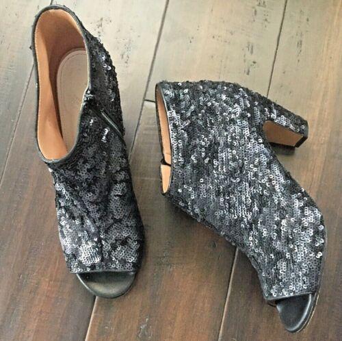 MAISON MARGIELA Black Sequin Leather Open Toe Ankl