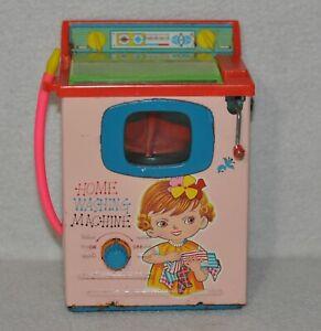 Vintage-Wind-Up-1960-039-s-Tin-Toy-Yonezawa-Home-Washing-Machine-Made-In-Japan-0719