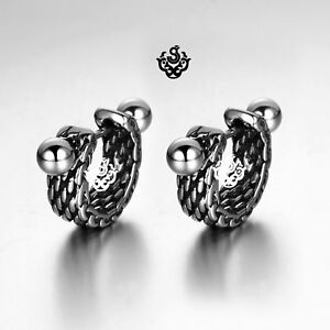 Silver-stud-carved-stainless-steel-earrings-huggies-cuff-screw-on-Soft-Gothic