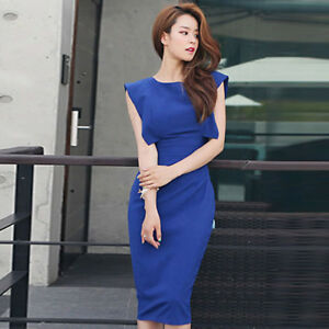 buy online aa76c a326f Dettagli su Elegante vestito abito tubino lungo blu elettrico slim morbido  4724