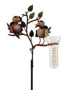 Stecker Vogelpaar mir Schirm Metall Dekoration Garten Terrasse Vogel Skulptur