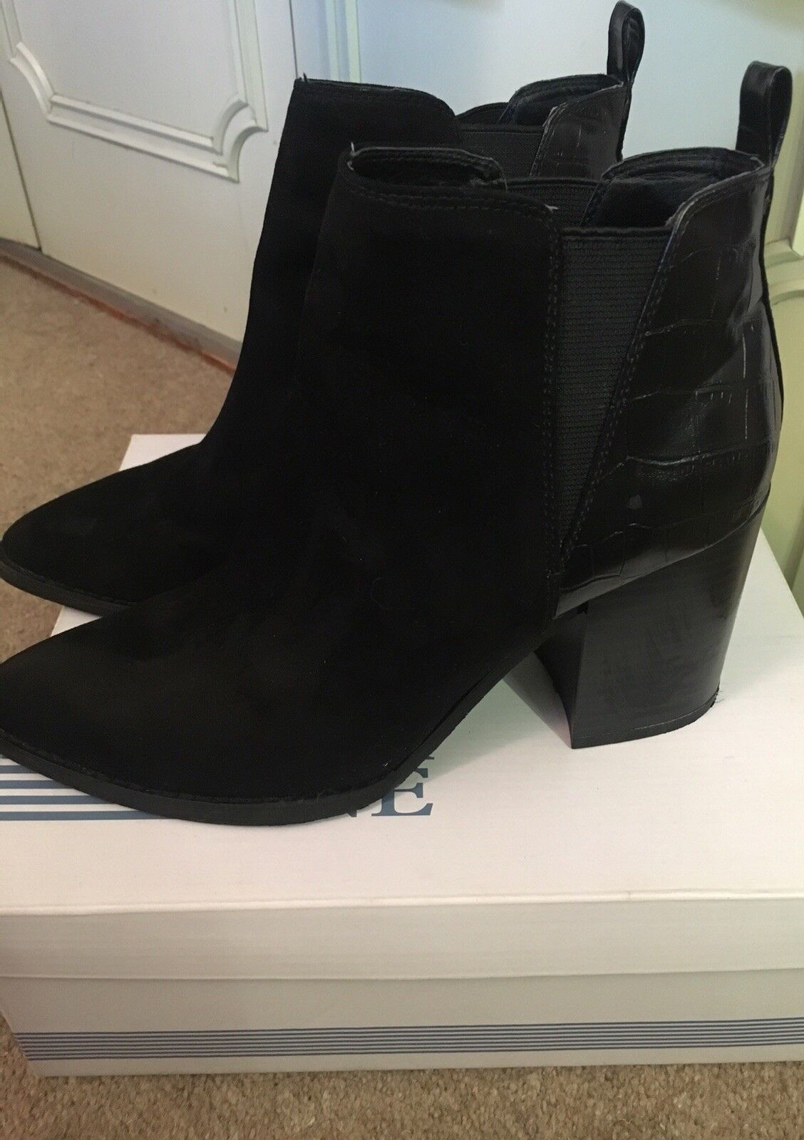 Womens Office Black Suede and Leather Pull on  Ankle Boots UK Size 38