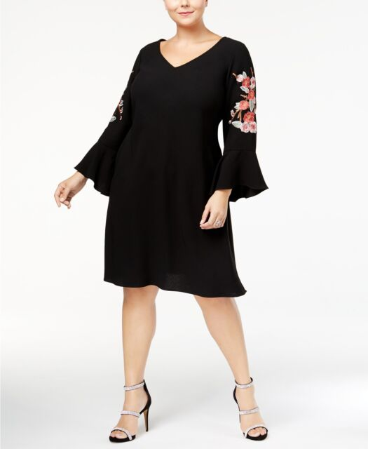 SL Fashions Plus Size Black Embroidered Bell-sleeve Shift Dress 22w