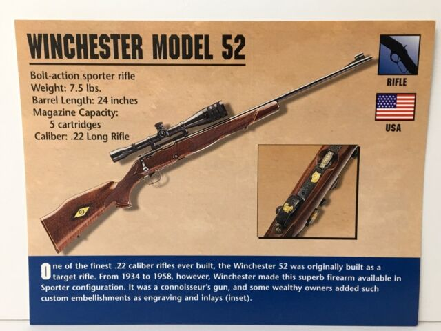 Winchester Model 52 Rifle  22 Firearms Atlas Photo Spec History Card USA