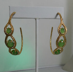 Image Is Loading Alexis Bittar Green Onxy Gold Tone Swarovski Crystal