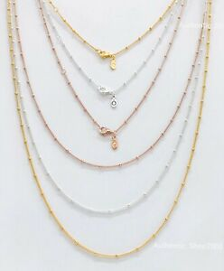 Details about New PANDORA Shine Rose Gold Silver Beaded Chain Necklace  397210 387210 367210