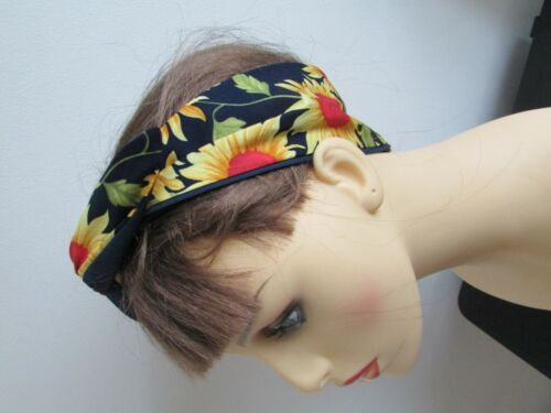 Pin UP Wide or Narrow Wired Sunflower on Navy Headband reverse Plain Navy Blue