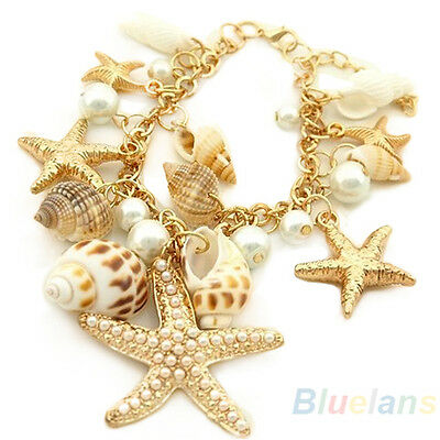 HOT CHARM OCEAN MULTI STARFISH SEA STAR CONCH SHELL PEARL CHAIN BRACELET BANGLE