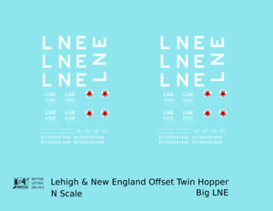 K4-N-Decals-Lehigh-and-New-England-Offset-Twin-Hopper-White-Big-LNE