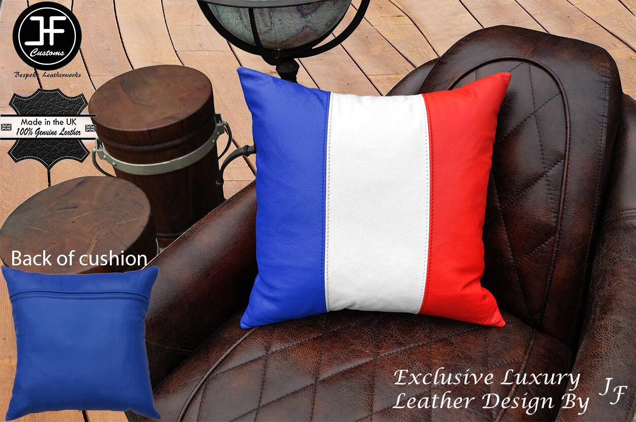 FRANCE Drapeau Couleurs En Cuir Exclusif 1X LUXE COUSSIN COUSSIN LUXE 18