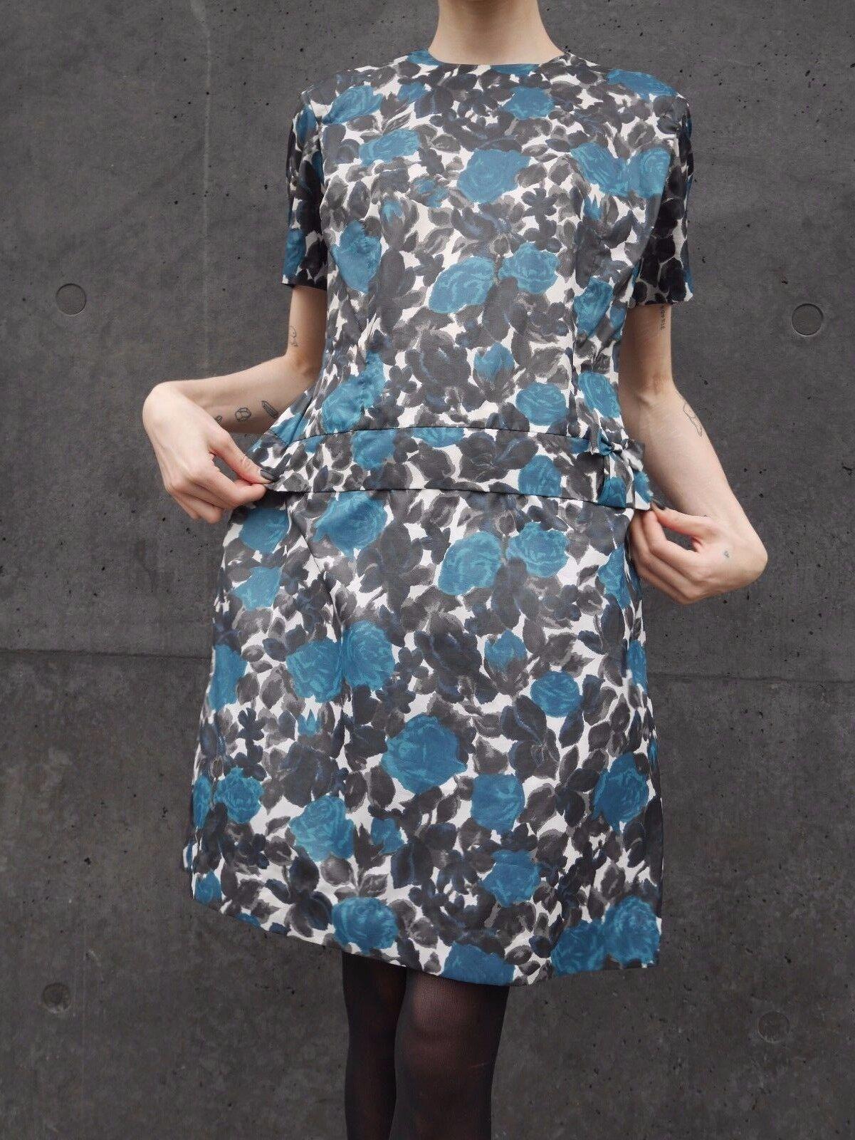 Kleid M 50er Rockabilly 60er day dress Blaumenmuster TRUE VINTAGE floral 50s