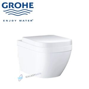 GROHE-EURO-CERAMIC-S-RIMLESS-WC-WALL-HUNG-TOILET-PAN-WITH-SOFT-CLOSE-SEAT-2in1
