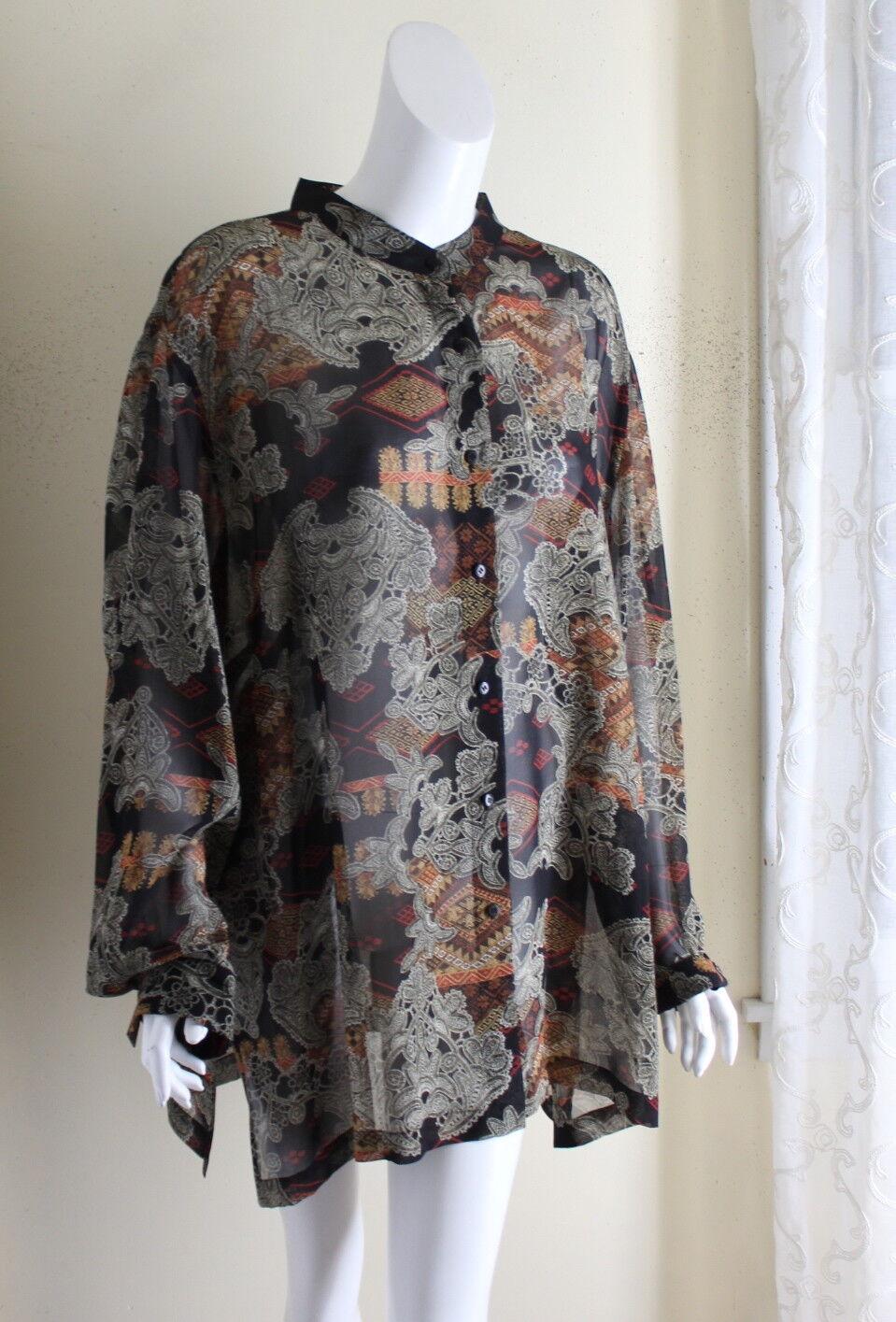 GoSILK -Sz 3X Silk Art-to-Wear Regal Rich Long Asian Tunic Shirt Top Jacket
