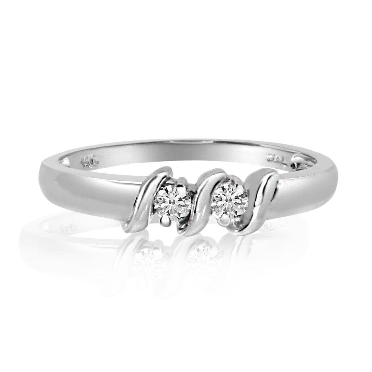 14K White gold S Design Two-Stone Diamond Ring