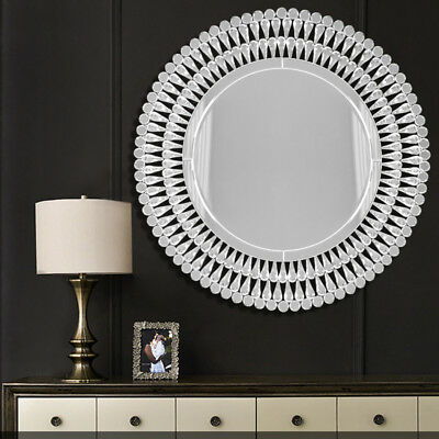 Large Venetian Crystal Round Glass, Venetian Large Round Silver Wall Mirror