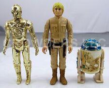 """Vintage Star Wars '77 C-3PO & R2-D2 + '80 Luke Skywalker Bespin Gear 3.75"""" GMFGI"""