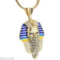 Masked Pharaoh King Gangster Thug Pendant Gold Finish 36 Franco Chain Necklace