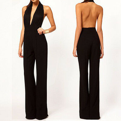 Sexy V-Neck Bodycon LACE Playsuit Clubwear Party Long Jumpsuit Romper Trousers