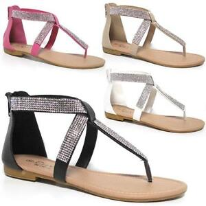 52da8e0a7bf60b Image is loading Ladies-Flat-Sandals-Womens-Girls-Summer-Gladiator-Fancy-