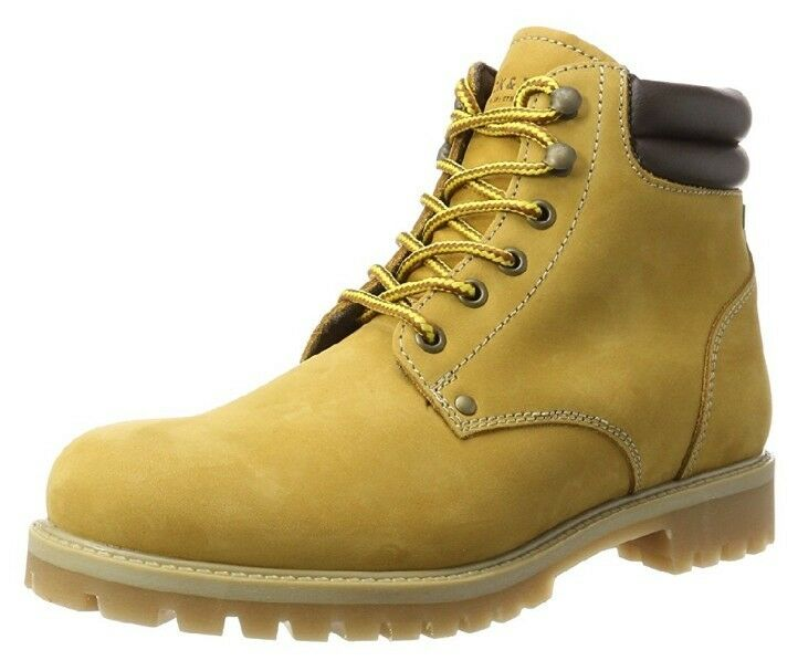 Jack&Jones Mens Jfwstoke Nubuck Honey Classic Boots Yellow UK 8 NEW IN PLAIN BOX