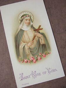 Antique-Vintage-Catholic-HOLY-CARD-St-Rose-of-Lima-Germany-1920-039-s