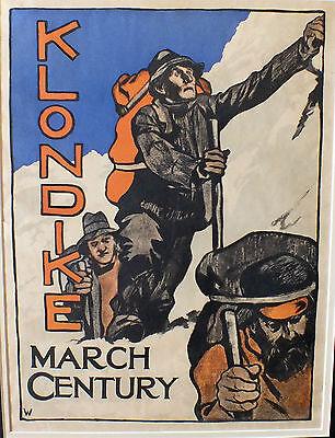 Original 1898 Century KLONDIKE Chilkoot Dawson Miner Gold Rush Alaska poster old