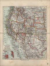 Landkarte map 1912: VEREINIGTE STAATEN WESTLICHES BLATT. USA