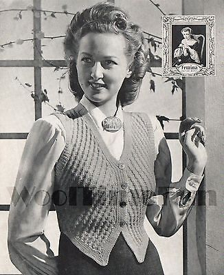 3Ply. Cable Design Vintage Knitting Pattern Lady/'s 1940s Waistcoat