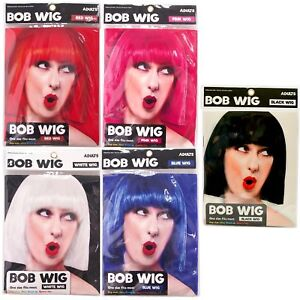 Womens-Ladies-Cosplay-Full-Bob-Short-Wig-Fancy-Dress-Costume-Black-Blue-Red