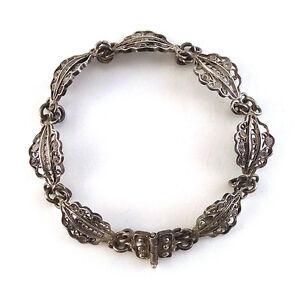 Fine-Vintage-Tribal-Silver-Filigree-Leaf-Chain-Link-Bracelet-20th-C